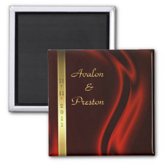 Marquis Red Silk Gold Save The Date Magnet