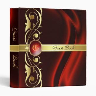 Marquis Red Silk Gold Scroll Guest Book Binder