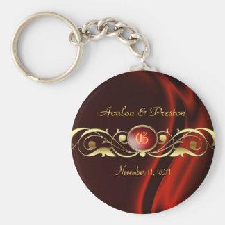 Marquis Red Silk Gold Scroll Keychain