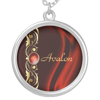 Marquis Red Silk Gold Scroll Necklace