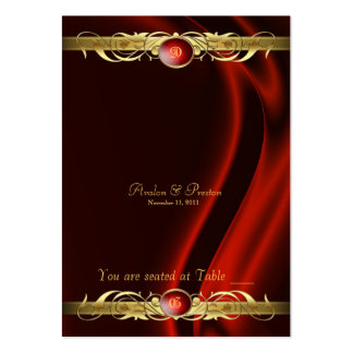 Marquis Red Silk Gold Scroll Table Placecard Large Business Card