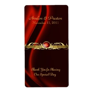 Marquis Red Silk Gold Scroll Wine Wedding Label