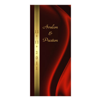 Marquis Red Silk Gold Wedding Program