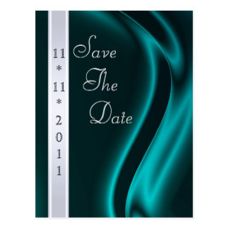 Marquis Teal Silk Silver Save The Date Postcard