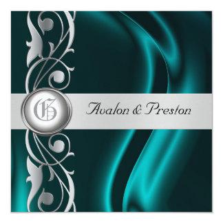 """Marquis Teal Silk Silver Scroll Pearl Invitation 5.25"""" Square Invitation Card"""