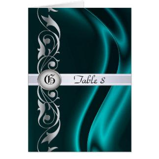 Marquis Teal Silk Silver Scroll Table Card