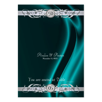 Marquis Teal Silk Silver Scroll Table Placecard Large Business Card
