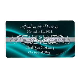Marquis Teal Silk Silver Scroll Wine Wedding Label