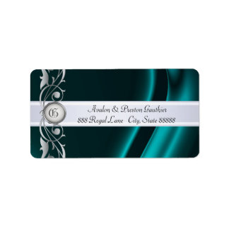 Marquis Teal & Silver Silk Address Labels