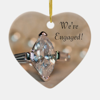 Marquise Diamond Ring Engagement Heart Ornament