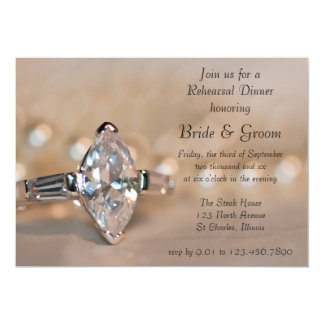 Marquise Diamond Ring Wedding Rehearsal Dinner Card