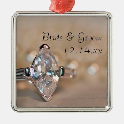 Marquise Diamond Ring Wedding Square Ornament
