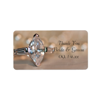 Marquise Diamond Ring Wedding Thank You Favor Tag