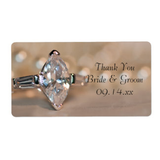 Marquise Diamond Ring Wedding Thank You Labels