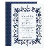 Marrakesh Wedding Invitation | Navy