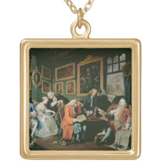 Marriage a la Mode: I - The Marriage Settlement, c Square Pendant Necklace