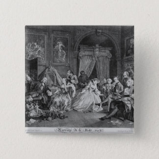 Marriage a la Mode, Plate IV, The Toilette, 1745 Button