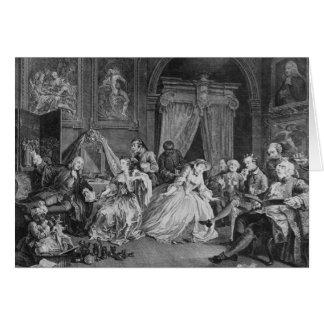 Marriage a la Mode, Plate IV, The Toilette, 1745 Card