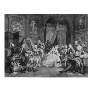 Marriage a la Mode, Plate IV, The Toilette, 1745 Postcard