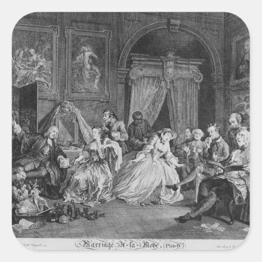 Marriage a la Mode, Plate IV, The Toilette, 1745 Square Sticker