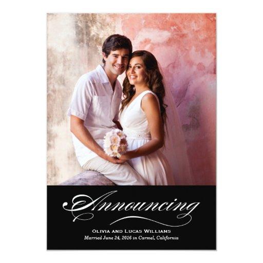 Marriage Announcement & Reception Black & White
