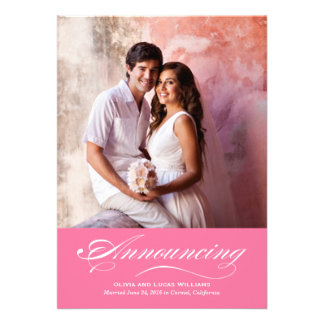 Marriage Announcement Reception Flamingo Pink