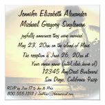 "Marriage Announcement Tropical Palm Tree 5.25"" Square Invitation Card"