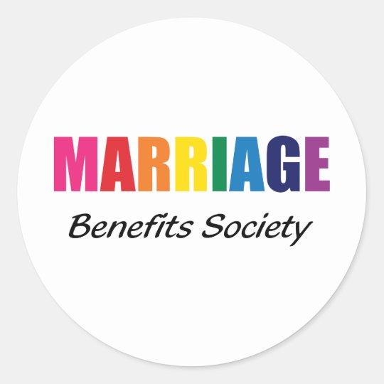Marriage benefits society classic round sticker
