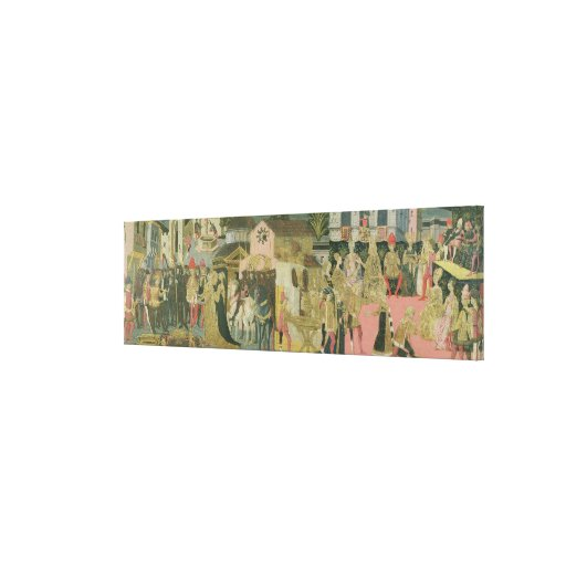 Marriage ceremony painted on cassone panel, Floren Canvas Print