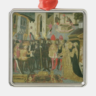 Marriage ceremony painted on cassone panel, Floren Metal Ornament