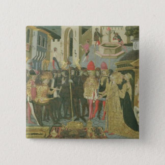 Marriage ceremony painted on cassone panel, Floren Pinback Button