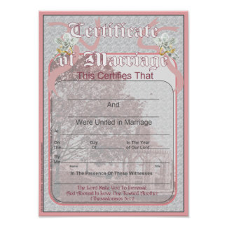 Marriage Certificate Classic Design Poster