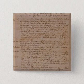 Marriage certificate of Wolfgang,Mozart and Weber Button
