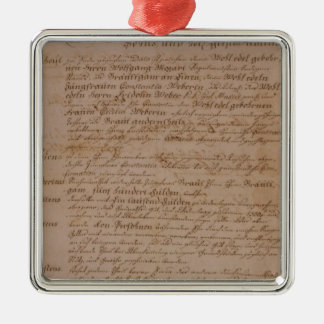 Marriage certificate of Wolfgang,Mozart and Weber Metal Ornament