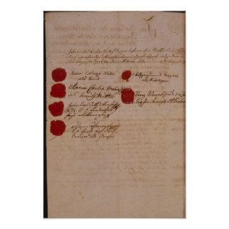 Marriage certificate of Wolfgang,Mozart and Weber Print