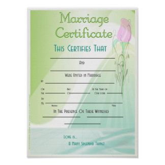 Marriage Certificate Poster
