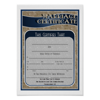 Marriage Certificate Print