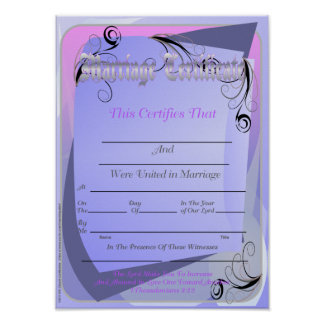 Marriage Certificate Posters