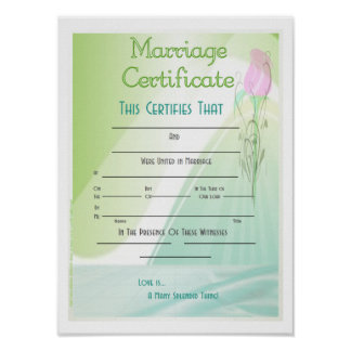 Marriage Certificates Print