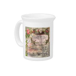 Marriage Collage Vintage Wedding Floral Beverage Pitcher