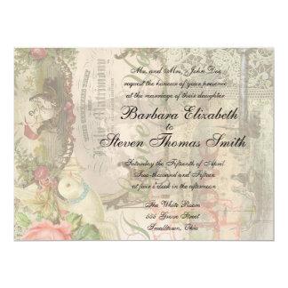 Marriage Collage Vintage Wedding Floral Card