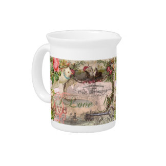 Marriage Collage Vintage Wedding Floral Drink Pitcher