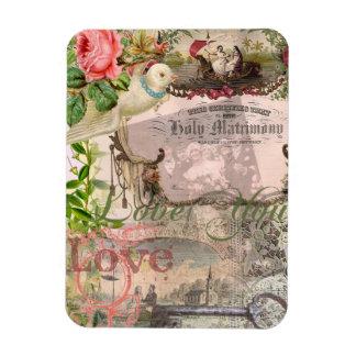 Marriage Collage Vintage Wedding Floral Magnet