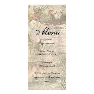 Marriage Collage Vintage Wedding Floral Rack Card