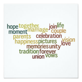 Marriage Collection Of Words (Wedding Wordle) Card