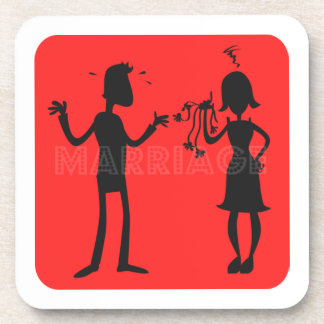 Marriage Couples Black Silhouette on Red Square Beverage Coaster