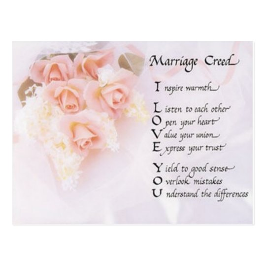 Marriage Creed Postcard