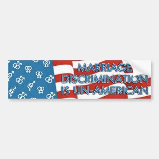 Marriage Discrimination Bumpersticker Bumper Sticker