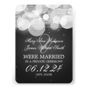 Marriage Elopement Glow & Sparkle Black Personalized Announcements