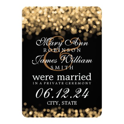 Marriage / Elopement Gold Lights 4.5x6.25 Paper Invitation Card